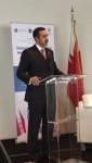 압둘라 빈 아흐메드 알 칼리파 외무부 차관이 바레인 왕국의 GEC 2019 개최국 선정 후 유엔 본부에서 연설을 하고 있다