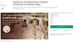 라디언스의 라디샤인-무선 스마트 히팅 베딩이 미국 클라우드 펀딩 플랫폼 런칭 1시간 30분 만에 목표액 100%를 달성했다