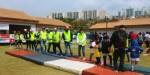 동명대 학생봉사단 42명이 부산국제어린이마라톤 자원봉사에 참여했다