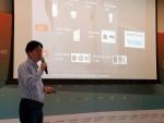 13일(현지시간) 미국 시애틀에서 열린 한인 IT 전문가 단체인 창발(창의와 발전)에서 개최한 컨퍼런스에서 김윤 SK텔레콤 센터장이 자사의 AI 연구 분야 등에 대해 설명하고 있다