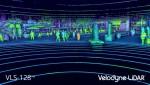 Velodyne VLS-128 ™의 포인트 클라우드: 타의 추종을 불허하는 정밀도로 차량 및 사람을 감지 할 수있는 업계 최고의 범위 및 해상도를 제공한다