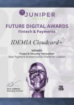 아이데미아의 생체인식 및 모바일 기반 클라우드카드+가 주니퍼 리서치의 최고 결제인증 솔루션상을 수상했다