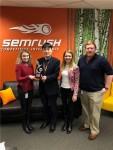 왼쪽부터 SEMrush 전략담당 Aysylu Ismagilova, 오소 대표 권정민, SEMrush 전략담당 부사장 Maryna Hradovich, SEMrush 오소 교육담당 Rich Barnett