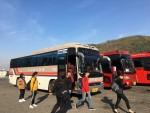 김포대학교 무료통학버스로 등교하는 학생들