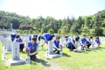 "Hyosung employees cleaned up Seoul National Cemetery, a resting place for fallen service members, veterans and patriots, about a week before June which is ""Memorial Month"" in Korea"