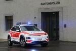 스위스 생 갈렌 주 경찰청사 앞에 코나 일렉트릭 경찰차가 주차돼 있다