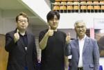 왼쪽부터 오지욱 협회장, 원창현 프로, 양윤경 서귀포시장