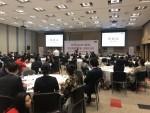 재외동포 한인 경제인 120여명이 참석한 2019 월드옥타 아프리카 중동 경제인대회 개회식에서 하용화 월드옥타 회장이 격려사를 하고 있다