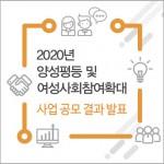 한국양성평등교육진흥원이 2020년 양성평등 및 여성사회참여확대 사업 공모 결과를 발표했다