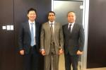 왼쪽부터 시큐레터 임차성 대표, KSU Dr. 무하마드 쿠람 칸 교수, 시큐레터 이윤수 COO가 사우디아라비아의 정부투자기관인 RVC와 투자 미팅 후 기념촬영을 하고 있다