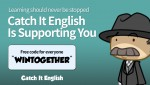 Catch It Play is offering a free premium coupon of its mobile English learning application Catch It English until May 31st, 2020 so that everyone who is in quarantine due to COVID-19 can learn English at home safely