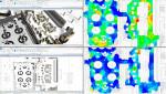 왼쪽 상단은 OpenBuildings Station Designer를 사용해 생성된 소매업 운영의 3D 모델을 보여줍니다. 왼쪽 하단에는 2D 평면도가 표시되어 LEGION Simulator(오른쪽)로 가져와 두 시나리오를 테스트합니다. 표시되는 예는 사회적 거리두기 요구 사항을 준수 75%(위) 및 25%(아래) 점유율입니다