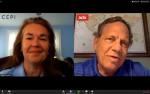 Steven M. Renner와 CEPI의 Dawn O'Connell이 2020년 6월 24일 비디오컨퍼런스콜에서 코로나19 백신 연구 펀딩에 대해 논의하고 있다
