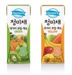 동원F&B가 무농약 수경재배 채소 청미채를 넣은 과일채소 주스 덴마크 청미채 2종을 출시했다
