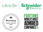 슈나이더 일렉트릭이 4년 연속 블룸버그 '성평등 지수' 기업으로 선정되고 포춘지의 '세계에서 가장 존경받는 기업'으로 뽑혔다
