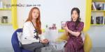 에이핑크 보미와 초롱이 왓츠인마이백에서 츠바키 '프리미엄 리페어 마스크 핑크 에디션'을 소개하고 있다