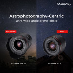삼양옵틱스가 천체 사진 촬영에 이상적인 광각 단초점 렌즈 AF 24mm F1.8 FE와 AF 12mm F2 E를 출시한다