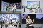 2021 유니브엑스포 서울의 강연 및 무대 콘텐츠. 왼쪽 위부터 시계 방향으로 유튜버 '쩡대로운 패션생활'의 강연, 유튜버 'J2N'·'MIIT'·'모르는지'의 '모여봐요, 미개봉 중고의 숲', 유튜버 '지윤일기'의 강연, 유튜버 '팔레타운'의 '아무말 대학교'