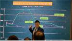 국립 한경대학교 동물생명융합학부 황성구 교수가 흰쥐 실험을 통한 실험 결과 당뇨 수치 그래프를 설명하고 있다