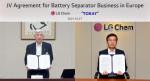 왼쪽부터 닛카쿠 아키히로(Akihiro Nikkaku) 사장과 LG화학 신학철 부회장이 화상 회의로 합작 법인 설립 계약을 체결하고 있다