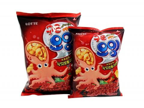 롯데제과는 국내산 해산물로 만든 씨푸드 스낵 구운오잉 낙지호롱구이맛을 출시했다