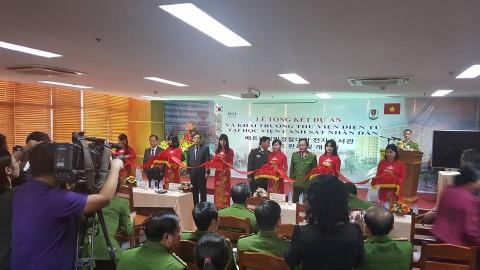 퓨쳐누리는 베트남경찰대학 전자도서관 구축 사업이 코이카 성과 우수 사례로 평가받았다고 밝혔다. 사진은 베트남경찰대학교 도서관시스템 오픈 행사