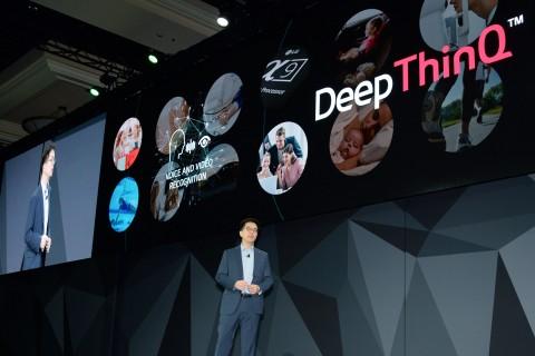 LG전자가 8일 미국 라스베이거스 만달레이 베이 호텔에서 글로벌 프레스 콘퍼런스를 열고 인공지능 전략을 소개했다