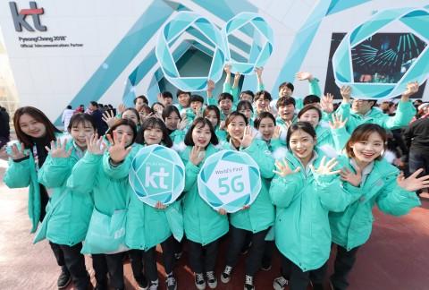KT가 세계 최초 5G 시범 서비스에 적용된 5G 네트워크 기술과 안정적인 대회통신망·방송중계망 운영 능력으로 대한민국 위상을 높였다.