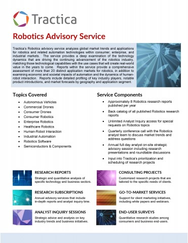 글로벌인포메이션이 제공하는 Robotics Advisory Service