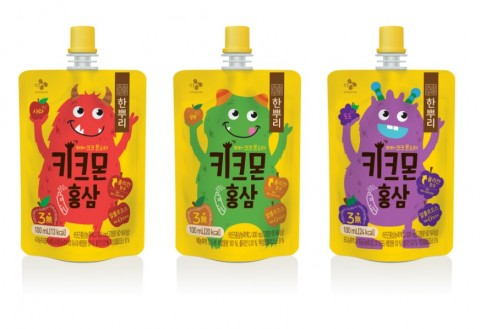 CJ제일제당이 출시한 어린이 음료 한뿌리 키크몬 홍삼 3종