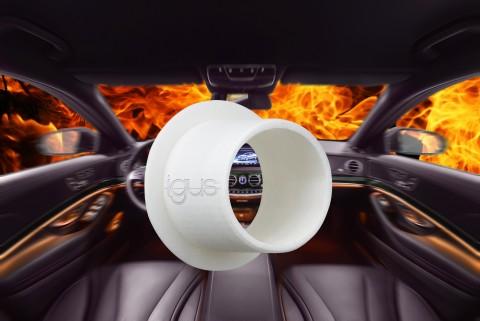 iglidur I3 재질로 제작된 3D 프린팅 구성품은 FMVSS 302에 따른 화재 테스트에서 입증된 것처럼 차량 내부의 안전성을 향상시킨다
