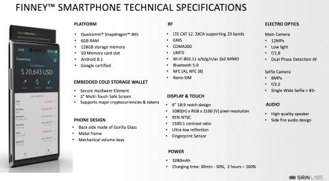 최초의 블록체인 스마트폰 핀니 제품사양