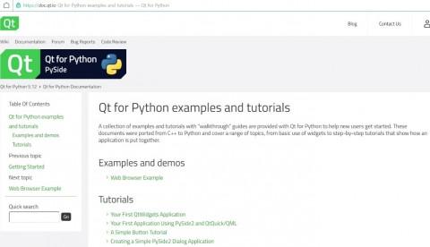 Qt for Python 기술문서 웹사이트