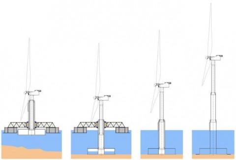 부유식 하부구조와 접이식 타워를 갖춘 해상 풍력발전기