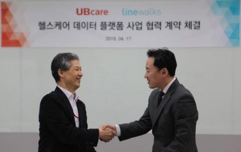 이상경 유비케어 대표이사(왼쪽)와 조용현 라인웍스 대표이사