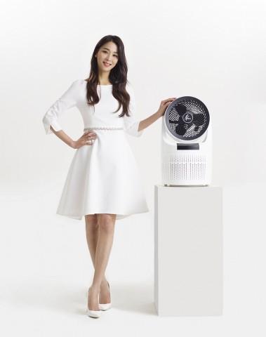 신일 홍보모델 배우 한고은과 공기청정 서큘레이터 에어 플러스