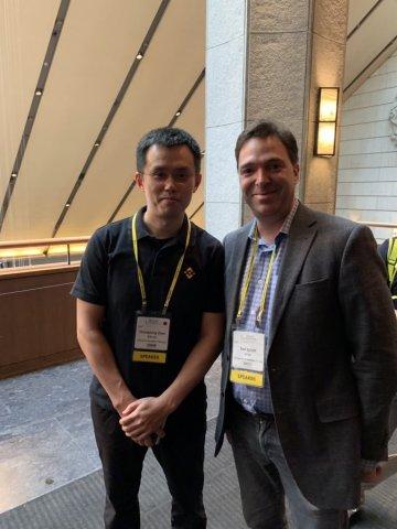바이낸스 CEO 창펑 자오와 크레드 공동창립자 겸 사장 댄 샤프트