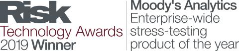 무디스 애널리틱스가 2019년 리스크 기술상에서 올해의 전사적 스트레스 시험 제품 부문상을 수상했다