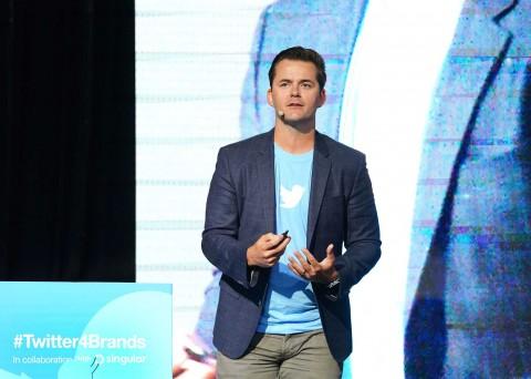 트위터포브랜드에서 발표 중인 트위터 브랜드 전략 담당 카일 존스