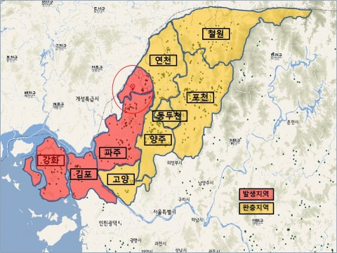 농림축산식품부 아프리카돼지열병 발생지역과 완충지역 현황