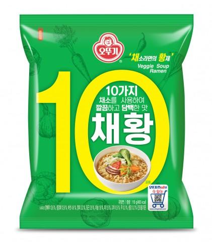 오뚜기가 10가지 채소를 사용해 깔끔하고 담백한 맛의 라면 채황을 출시했다
