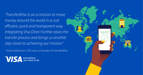 트랜스퍼와이즈는 전 세계에 우수한 비용 효율로 빠르고 투명하게 돈을 보낼 수 있도록 한다는 사명을 추구하고 있다. 비자 다이렉트를 통합함으로써 송금 프로세스를 더욱 용이하게 하고 그같은 사명을 달성하는 데 한발짝 더 다가서게 됐다