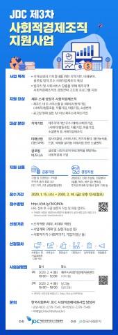 한국사회투자와 JDC는 제3차 사회적경제조직 지원사업에 참여할 대상기업 10개팀을 모집한다