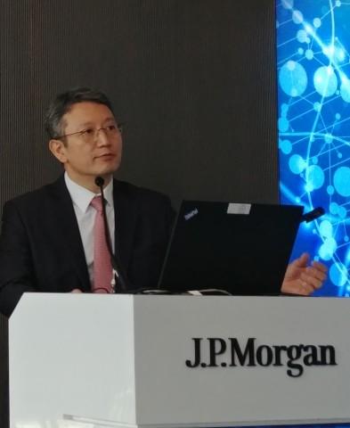 LG화학 손지웅 생명과학사업본부장이 기업발표에 나서 R&D 성과를 알리고 있다