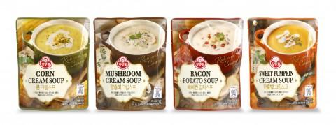 오뚜기가 레스토랑 스프 맛을 가정에서 상온 액상 스프 4종을 출시했다