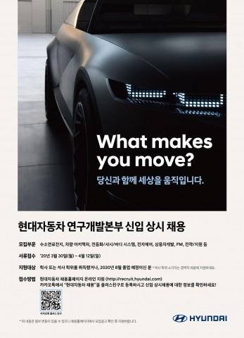 현대자동차가 연구개발본부 신입·경력사원을 상시 채용한다