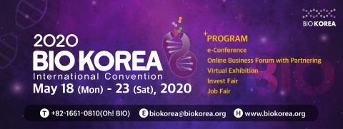 BIO KOREA 2020 will be held as an online convention from May 18 09:00 to 23 18:00 2020