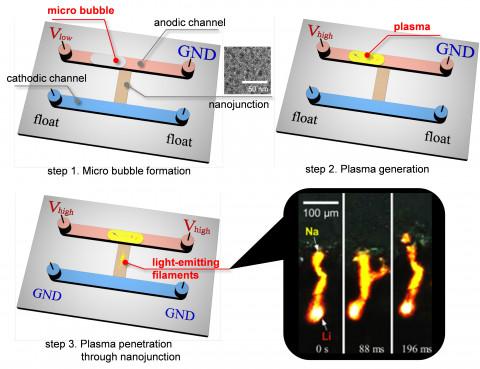 이온-플라즈마 에너지 전이 과정에서 방출되는 가시광을 나노 다공성 막 내부로 여기시키는 방법 및 나노 다공성 막 내부에서 수송되며 발광하는 리튬과 나트륨 이온