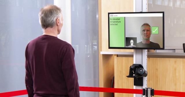 플리어 스크린-EST는 통행이 많은 구역에서 플리어 열화상 카메라와 함께 사용하는 더 빠른 피부 온도 검사 솔루션이다