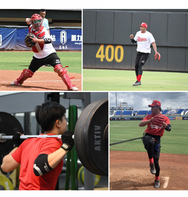 웨이취엔 드래곤스 선수들이 웨이브웨어의 E1, E2 팔꿈치 슬리브 사용 테스트를 진행하고 있다